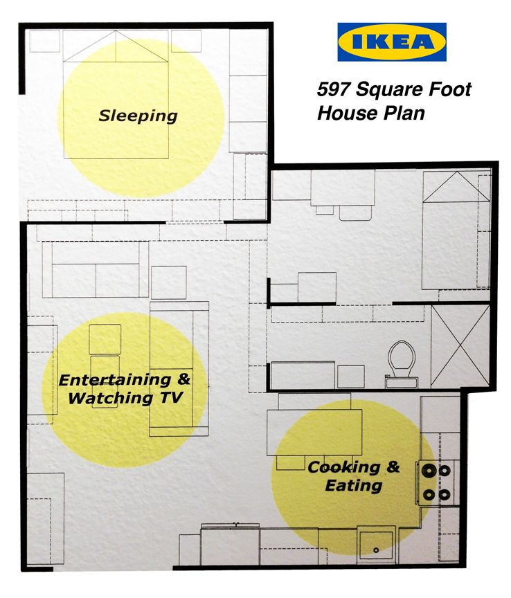 Ikea's 597 Square Foot House Plan. 2 Bedrooms, Kitchen And