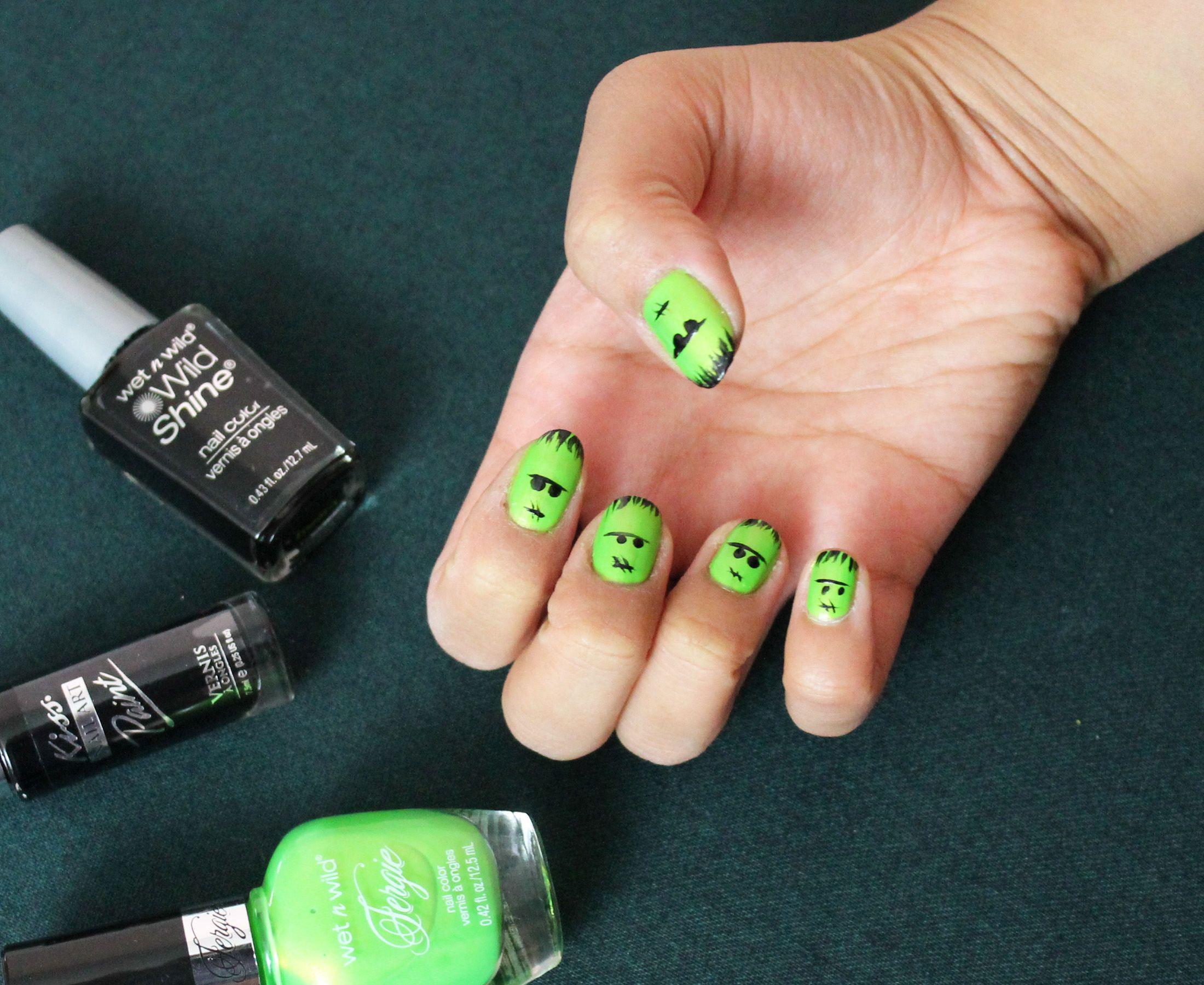Frankenstein Nails Finished Look Diy Halloween Decorations