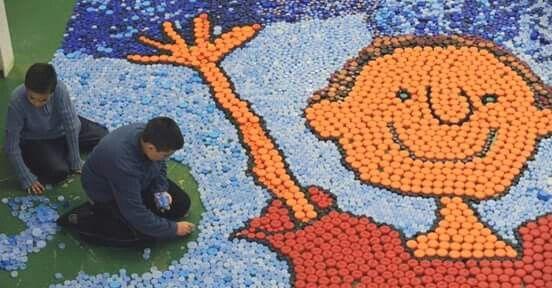 Mosaico Com Tampas De Garrafa Pet Tampinhas Tampas De Garrafa