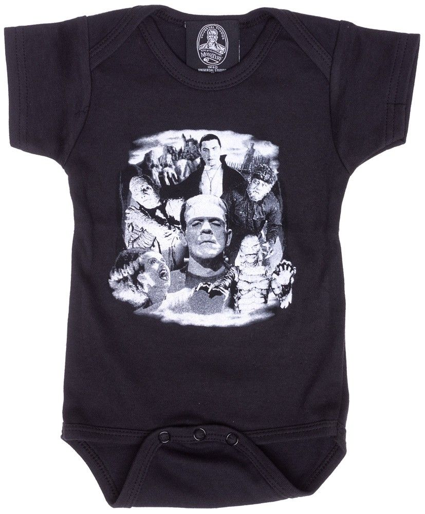 UNIVERSAL MONSTERS BELLA LUGOSI ONE PIECE Monsters are people too...sometimes! Put your little monster in this collage one piece featuring Bela Lugosi's Dracula, Frankenstein's Monster, The Mummy and more all screened in white for maximum scare factor! $20.00 #kids #onesie #onepiece #frankenstein #universalmonsters