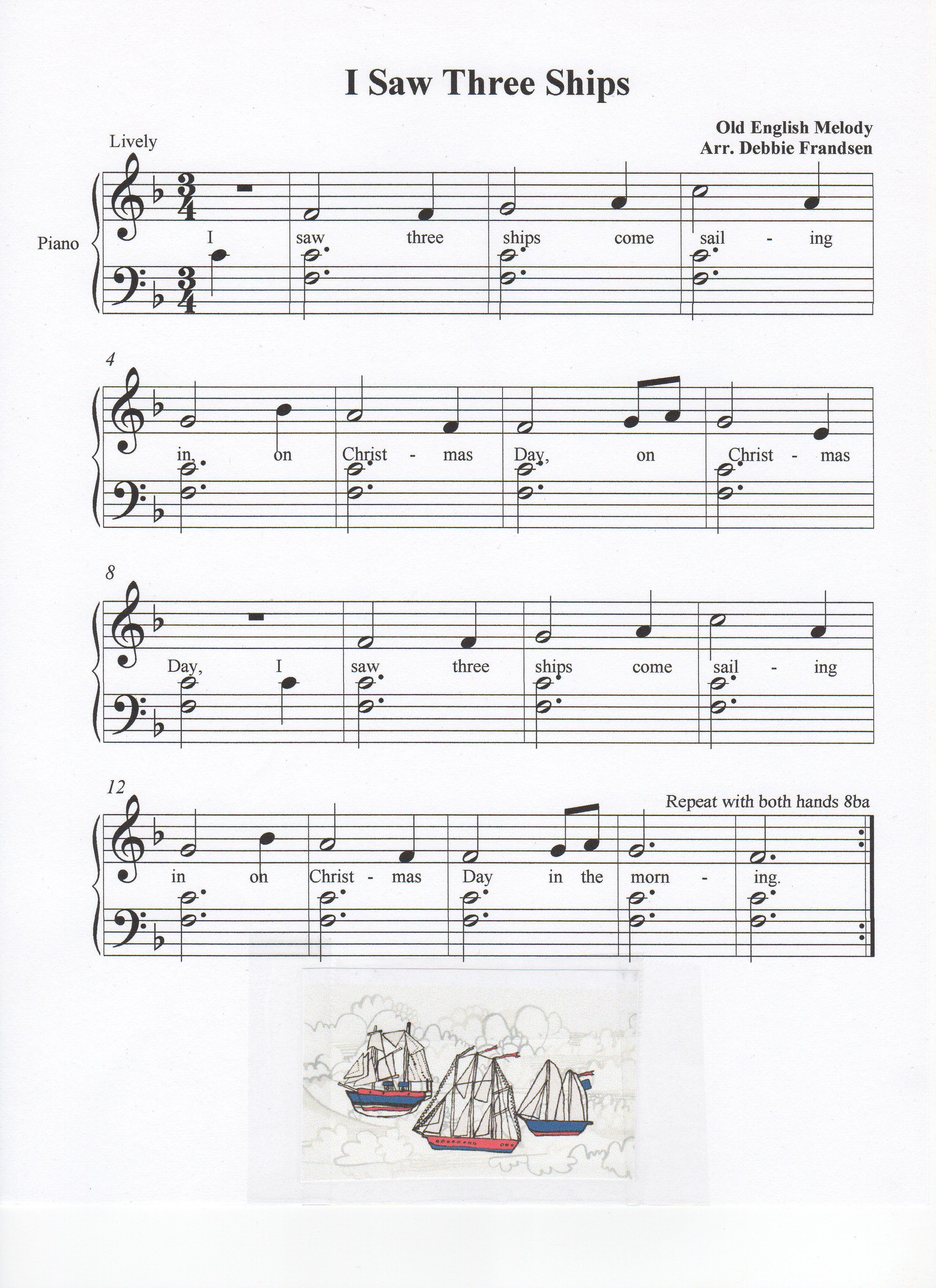 I Saw Three Ships, Christmas Song, key of F, Let's Play Music!   Christmas sheet music, Piano ...