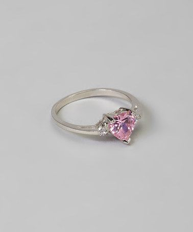 Pink Cubic Zirconia & Sterling Silver Heart Ring by Five Little Birds #zulily #zulilyfinds