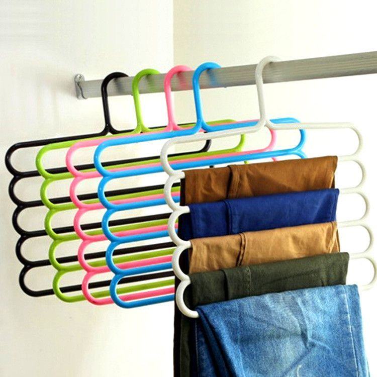 Pants Hangers Holders For Trousers Towels Clothes Apparel Hangers  Five Layer Space Saving Version