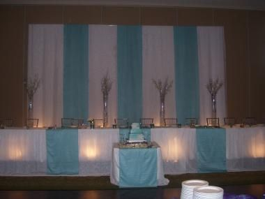 Head Table With Backdrop And Cake Set In Front