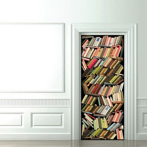 Lol This Is A Door Sticker 3d Home Decoration Stickers Book Wallpaper Stack Of Books Door Stickers