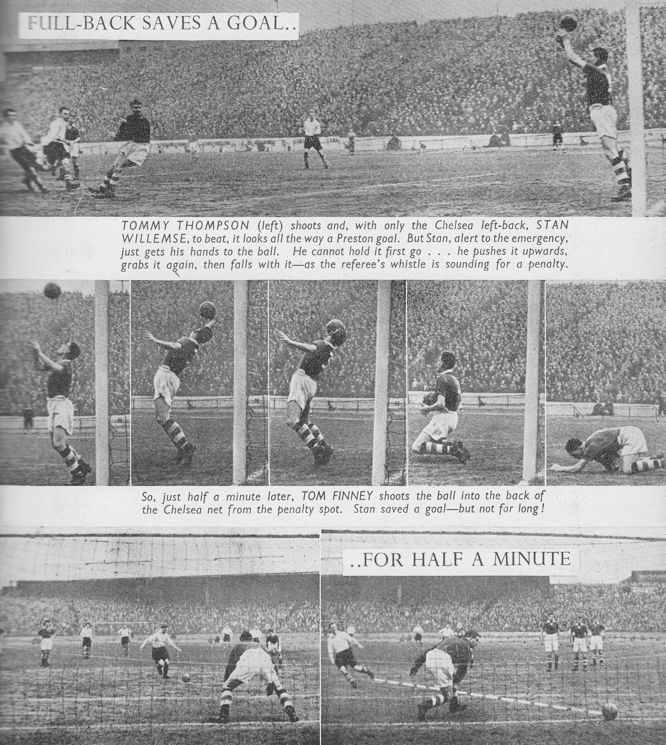 March Preston North End inside forward Tommy Thompson sees his shot clear off the line by the hands of Chelsea left back Stan Willemse only for winger Tom Finney to score from the penalty spot, at Stamford Bridge. Chelsea Champions, Tommy Thompson, Preston North End, Class Games, Last Man, Stamford Bridge, How To Make Light, Premier League