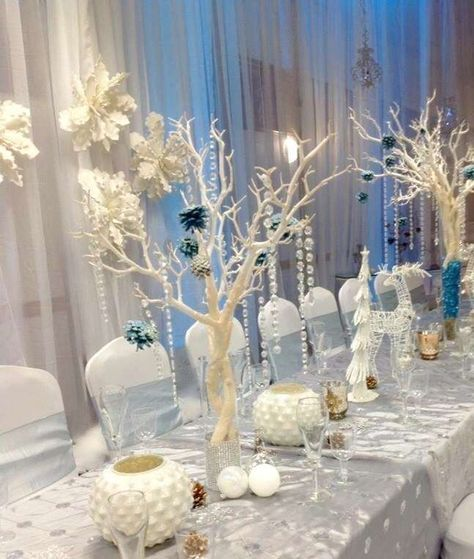 Winter Themed Christmas Decorations: Winter Wonderland Quinceañera Party Ideas In 2019