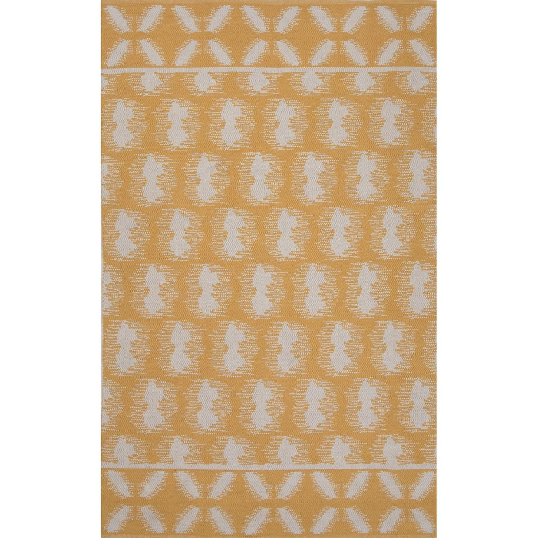 5 X 8 Sunflower Yellow And Polar White Flat Weave Reversible