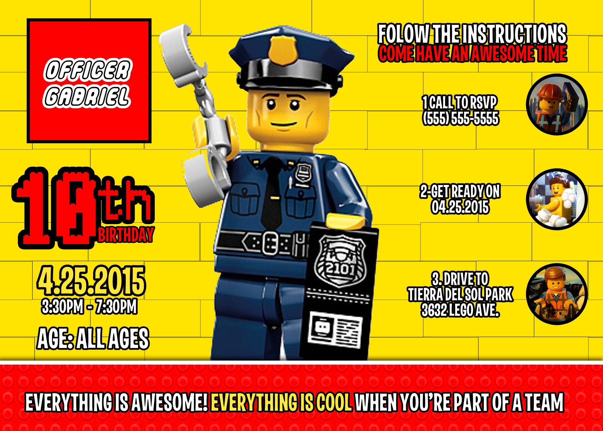 Lego Police Birthday Invitation | Lego police, Lego and Birthdays