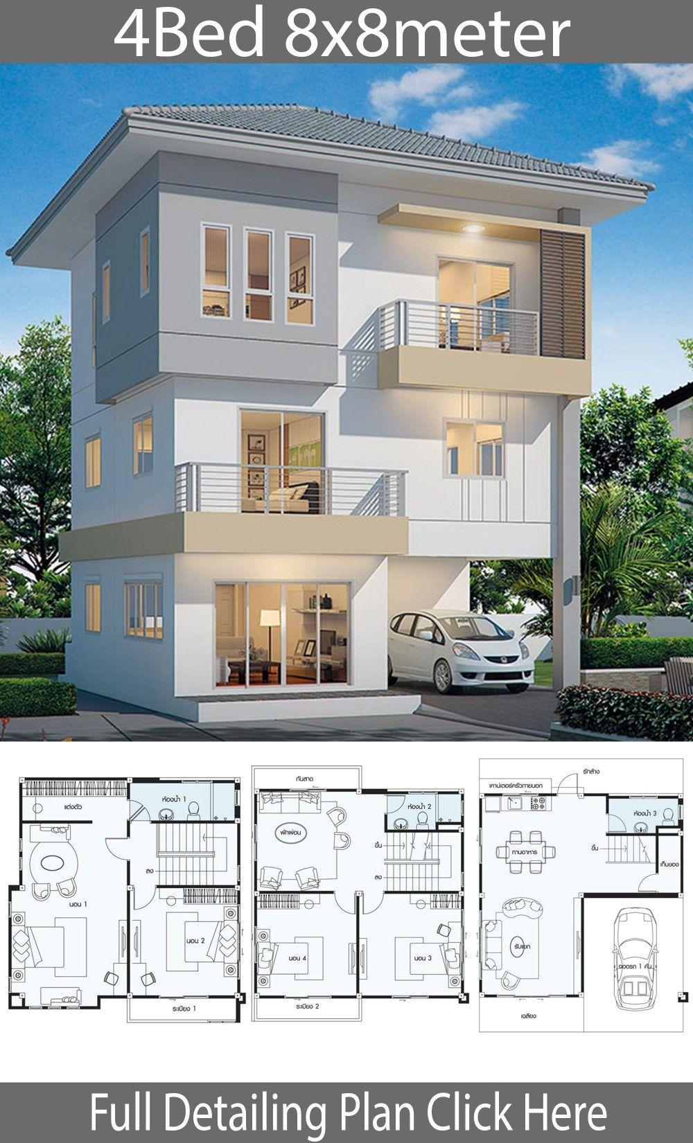 Plan de maison 9x9m avec 9 chambres  Duplex house design, Model