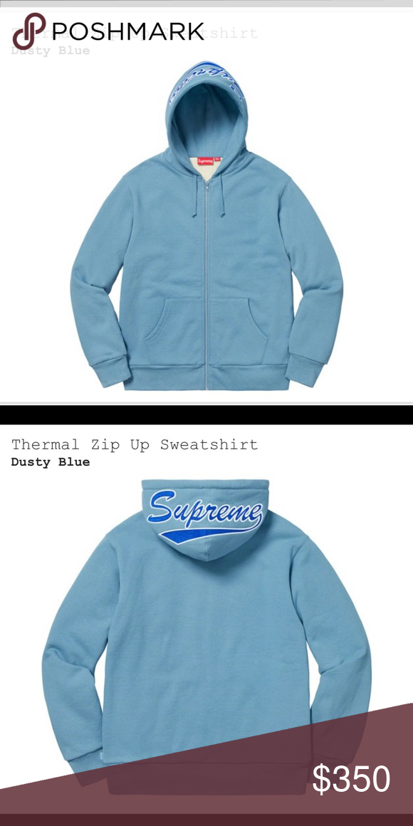 2f91211654d3 Supreme thermal zip up sweatshirt Heavy weight cotton cross grain fleece  with cotton thermal lining. Full zip closure with pocket pouch and  embroidered logo ...