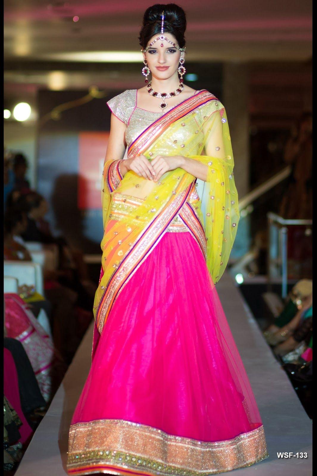 Neerus Fashion Show Collection - Neon Pink #lehenga #choli #indian ...