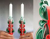 Christmas candle set - Christmas gifts - Taper candles - Carved candles