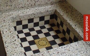 Zwart Witte Tegels : Gootsteen zwart wit tegels mozaiek monique van waes