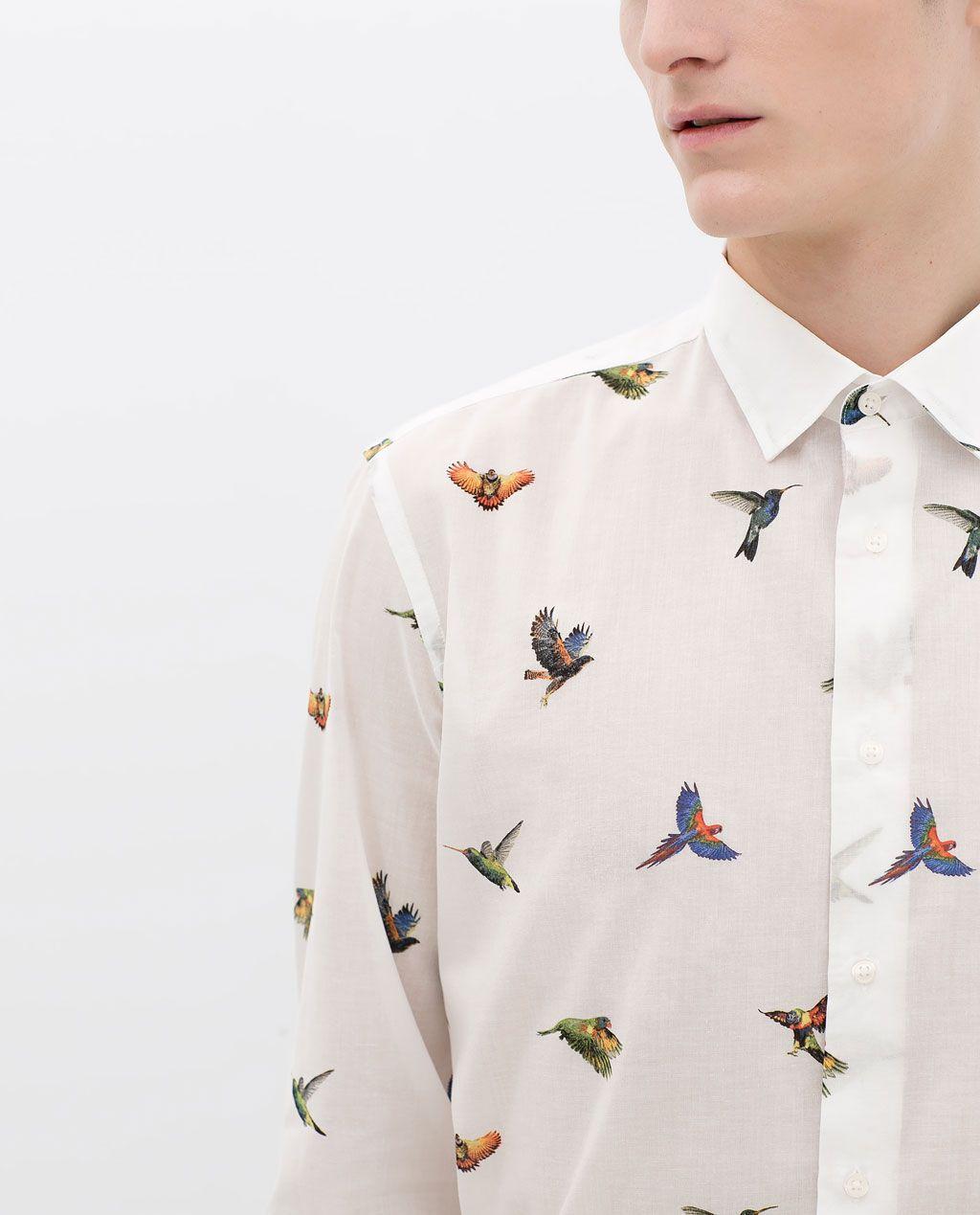image 6 de chemise voile imprim oiseaux de zara men en. Black Bedroom Furniture Sets. Home Design Ideas