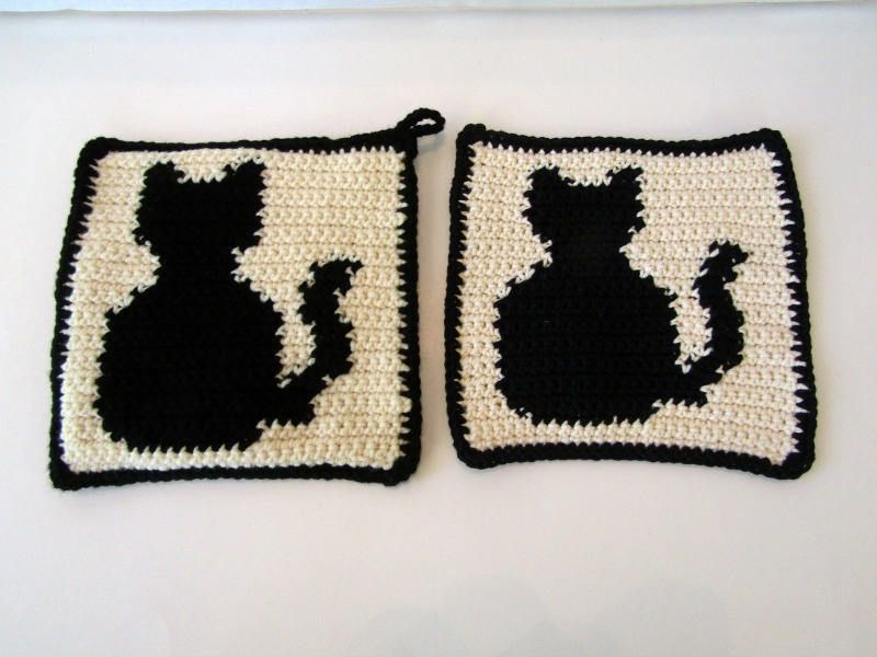 Black Cat Potholder U0026 Dishcloth/Washcloth Kitchen Combo. Black Cat Kitchen  Decor. Black