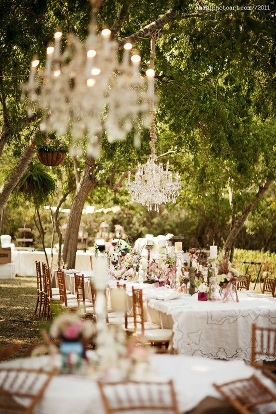 Elegant Outdoor Wedding Reception Ideas, Love The Chandeliers