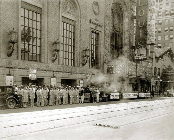 The front of the St  Louis Theater in 1930  Note the smaller