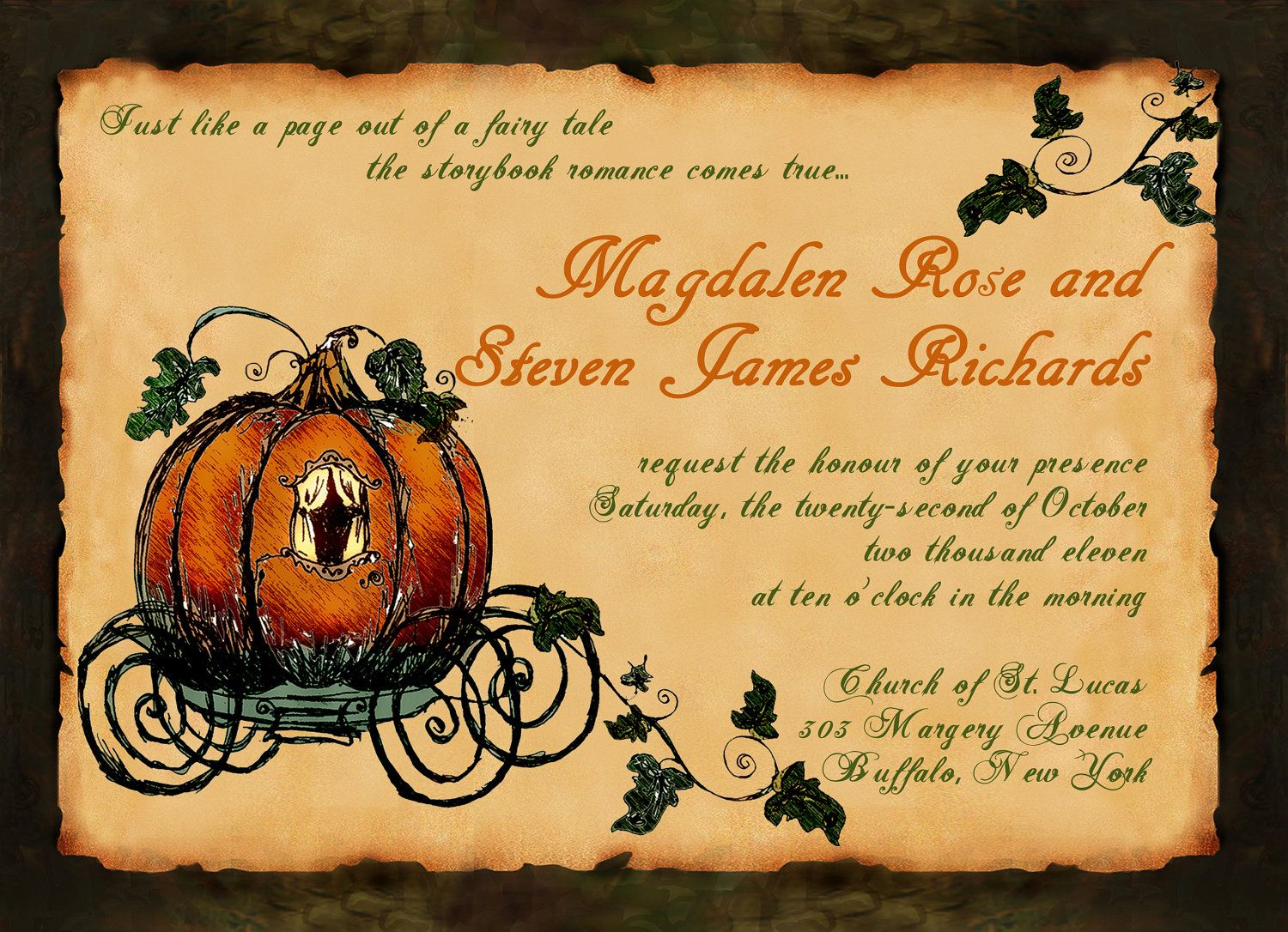 Printable Vintage Fall Fairy Tale Pumpkin Carriage Wedding PDF ...