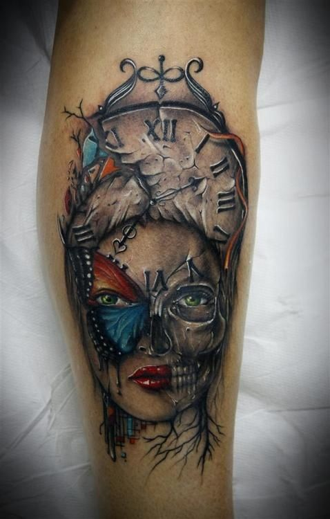 Life and Death   clock, butterfly, face and skull tattoo