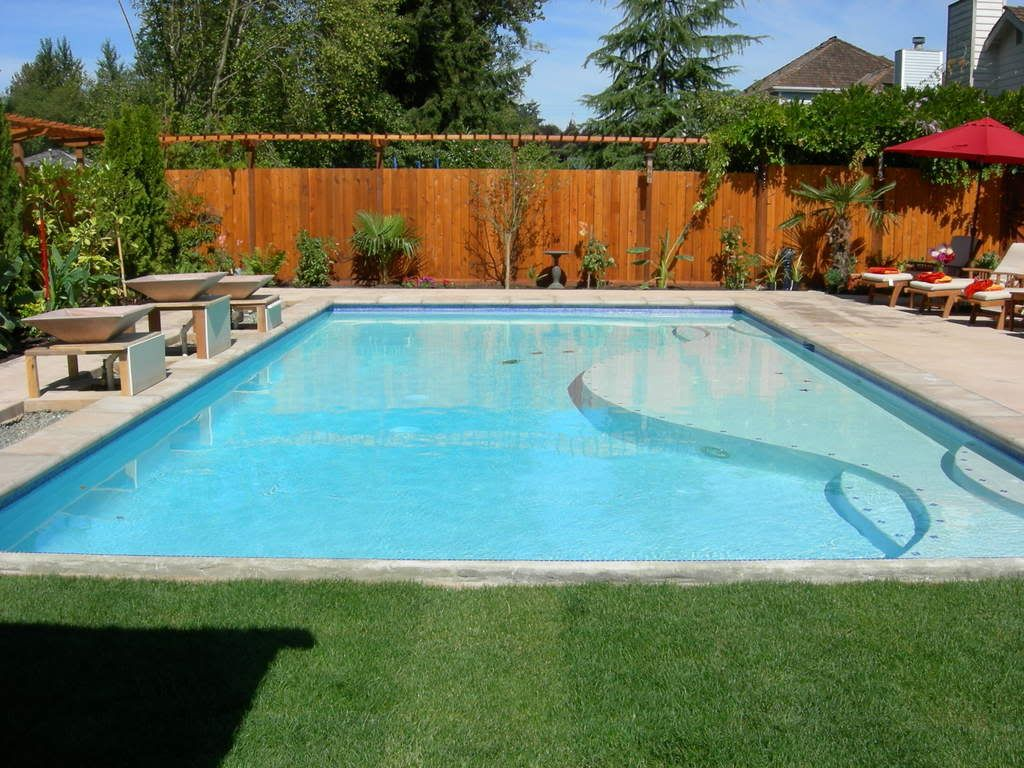 Rectangular pool with baja shelf design poolside for Pool design rectangular