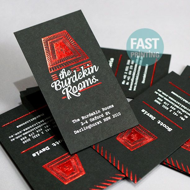 Business Card With White Red Foil Finish On 350gsm Extra Black Uncoated Premium Stock Whitefoil Redfoil Businesscard Fastpr Red Foil Foil Metallic Foil