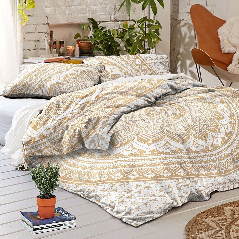 Indian Handmade Mandala King Size Duvet Cover Bedding Boho Quilt Cover Set