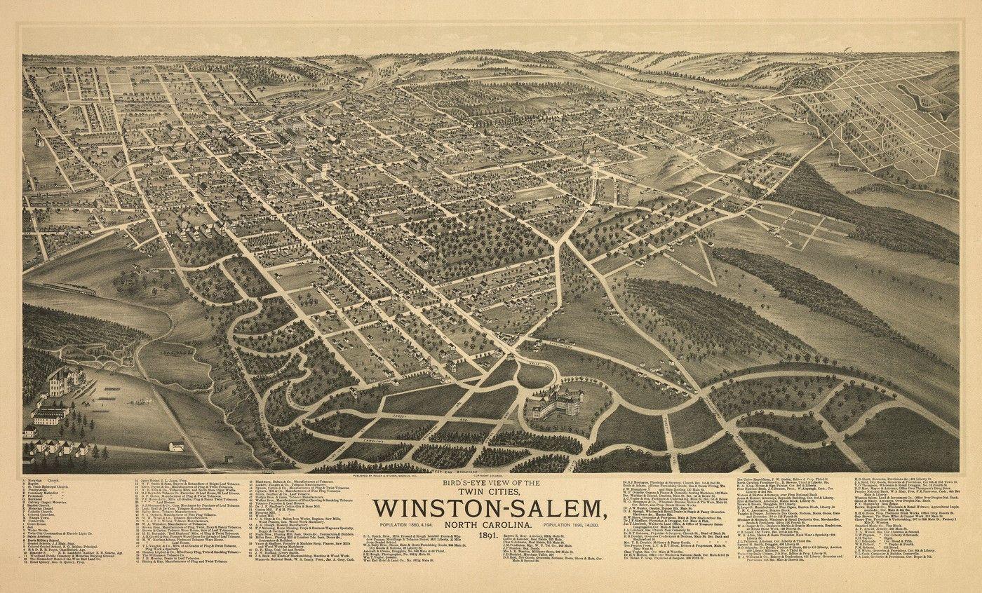 Birdu0027s eye view of the twin cities Winston Salem