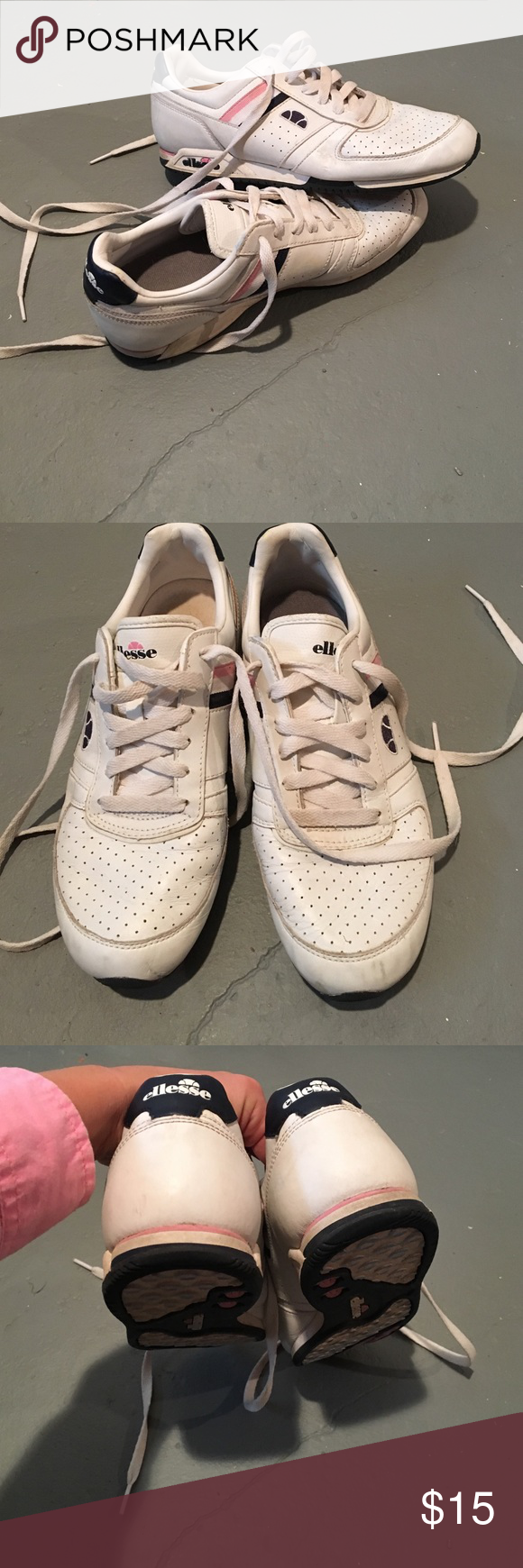 Ellesse white tennis cheer classic sneakers Amazing quality sneakers,  non-marking soles with plenty of life left. Shows wear, see pictures. e558ce4103