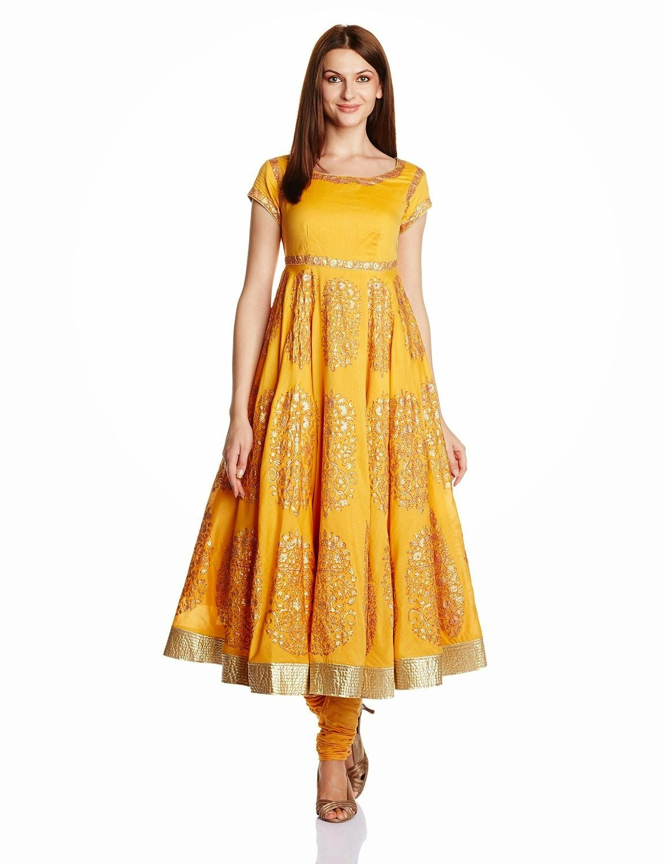 Biba By Rohit Bal Women's Cotton Silk Anarkali Salwar Suit ...