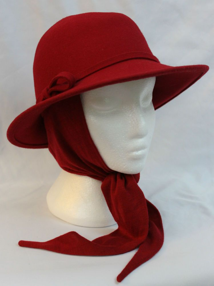 Womens Orvis Fedora Hat with Attached Scarf Chin Tie Red Hat Society ... 051820fdc05