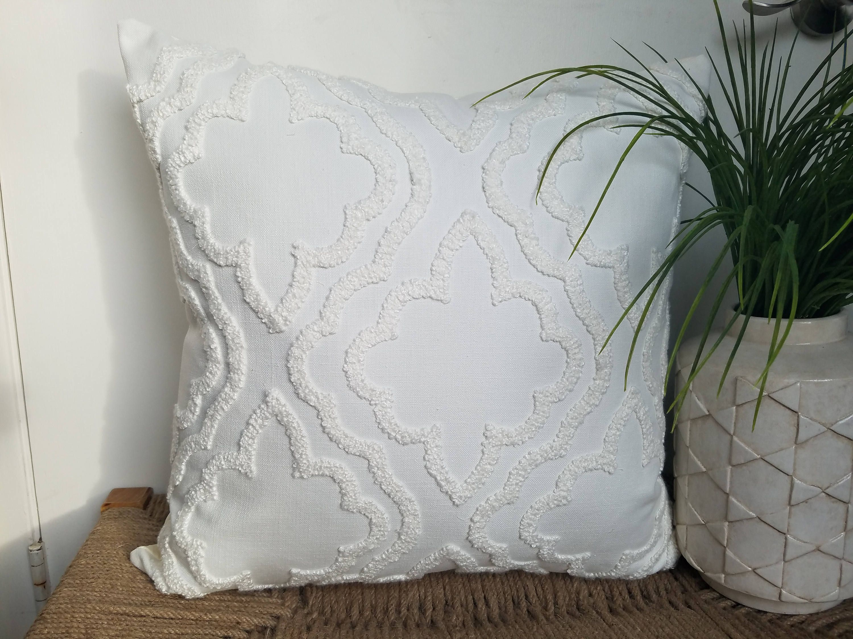 cream fabric decorative pillow cover