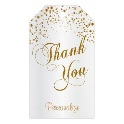 Gold Confetti on White Satin Thank You Gift Tags Gold confetti - wedding labels template