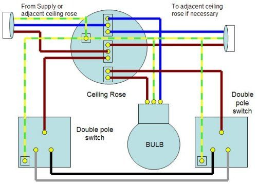 Two Way Lighting Circuit Wiring Diagram:  Electrical 6 Electronics ,Design