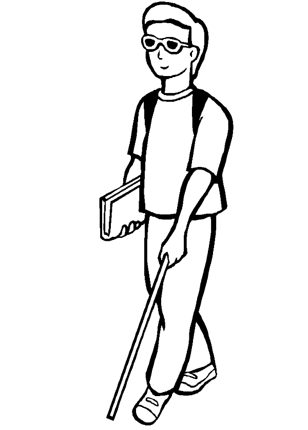 A Disabled Young Man Eager To Run Its Activities Coloring Pages