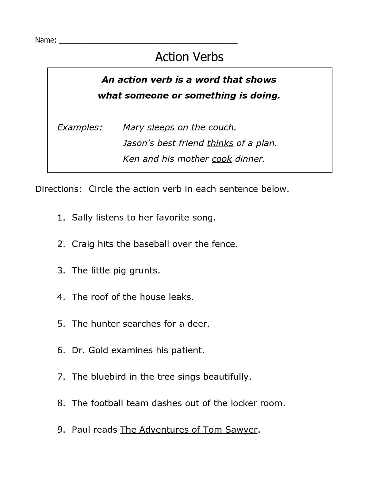 Free Printable Grammar Worksheets Action Verb