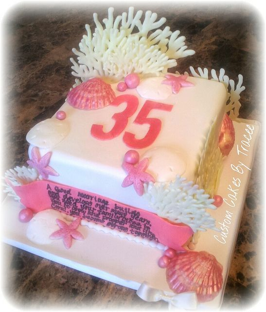 Coral Wedding Anniversary 35th Wedding Anniversary Card: 35th Coral Wedding Anniversary Cake