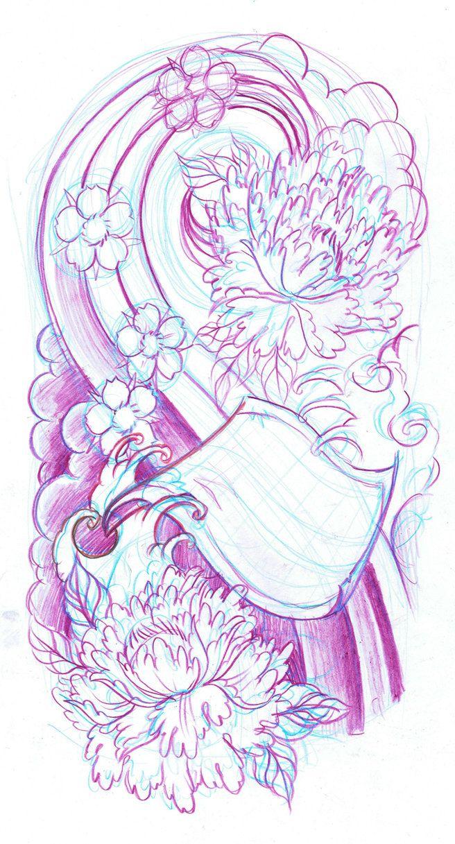 Sleeve Tattoo Sketch Japanese Sleeve Sketch By Wildthingstattoo