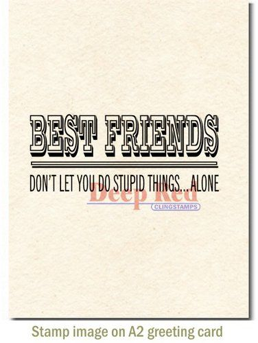deep red stamps cling mounted rubber stamp best friends headline