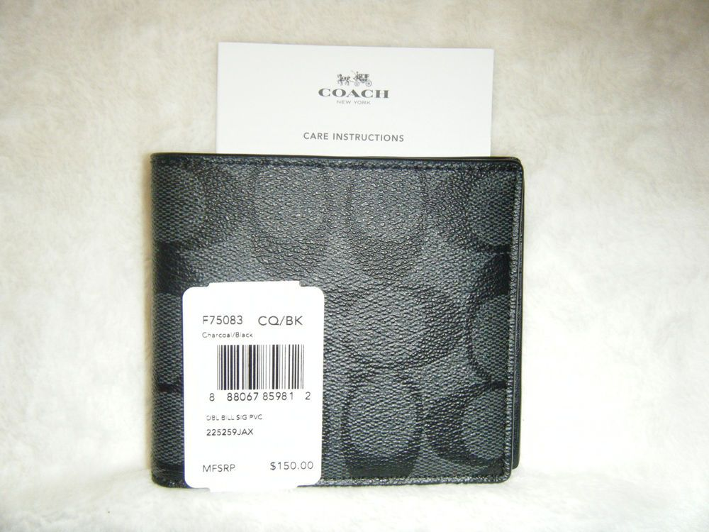 736a6c43137b0 Authentic Coach Men s Signature Double Billfold Wallet Char Black F75083  NWT