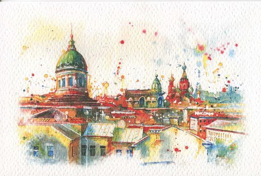 Открытка на день города рисунок, метро бауманская