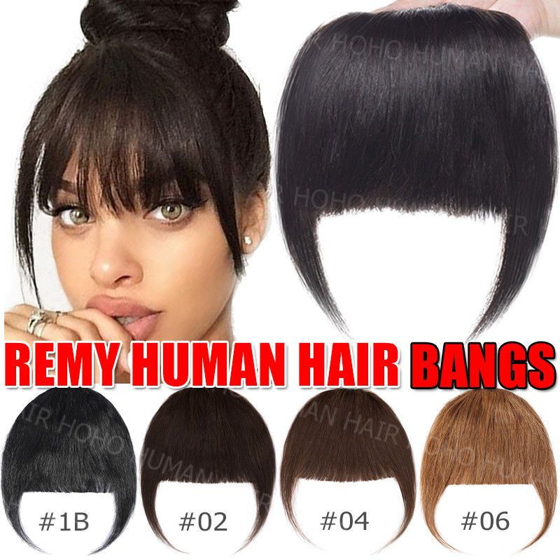 Natural 100 Real Human Hair Bangs Extensions Clip In Front Hair Fringe Black Us Ebay Hairstyles With Bangs Bangs Extensions Real Human Hair Extensions