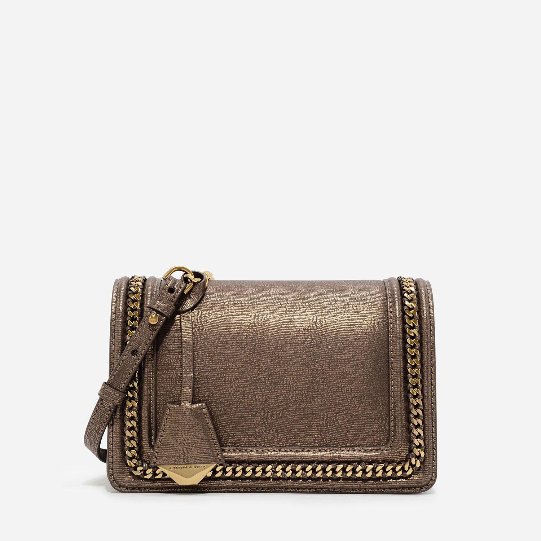 95d48e4121a4 Nude Chain Detail Crossbody Bag | CHARLES & KEITH | Ck | Bags ...