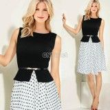 Women's Vintage Belted Sleeveless Polka Dot Party Wear To Work Tunic Dress Bodycon Pleated Tunic Long Maxi Dresses, http://www.shopprice.us/women+tunics/3