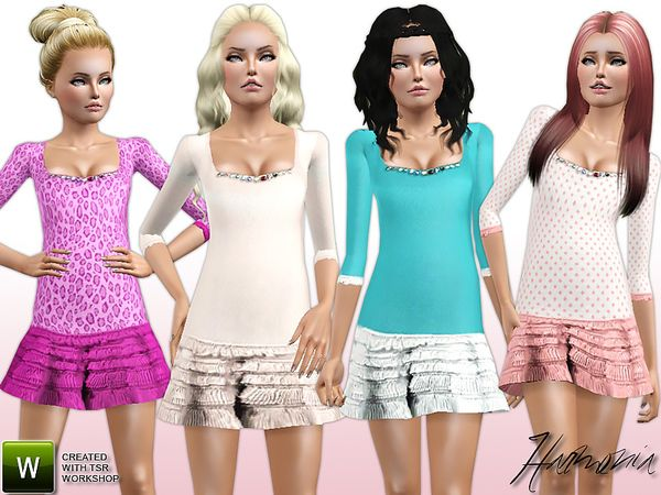 Padded Ruffle Silk Dress by Harmonia - Sims 3 Downloads CC Caboodle
