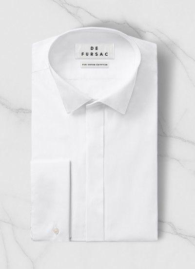 c7ec0728281312 Chemise homme en popeline de coton   Achetez votre chemise col cassé  blanche perH3LUCK-T001 01, et découvrez toute la collection de costumes  hommes De ...
