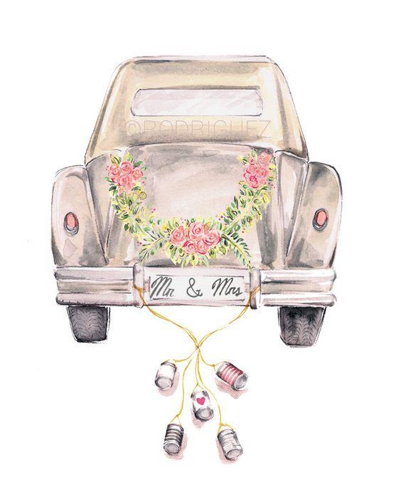 Vintage Wedding Getaway Car Watercolor by MarketteStudio