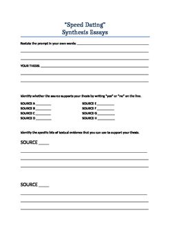 Space Race Essay This Speed Dating Activity Is Designed To Help Students Simply Unpack And  Plan A Synthesis Essay From Part Ii Of The Ap English Language And  Composition  Definition Of A Essay also Home Sweet Home Essay Speeddating For Ap Language Synthesis Essays  Ap English English  Analysis Essay Example Topics