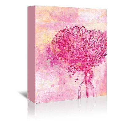 "Americanflat Sweet William Painted Peony Graphic Art on Gallery Wrapped Canvas Size: 48"" H x 32"" W x 1.75"" D"