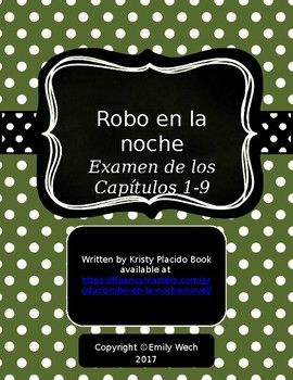 To Be Used With The Novel Robo En La Noche By Kristy Placido This